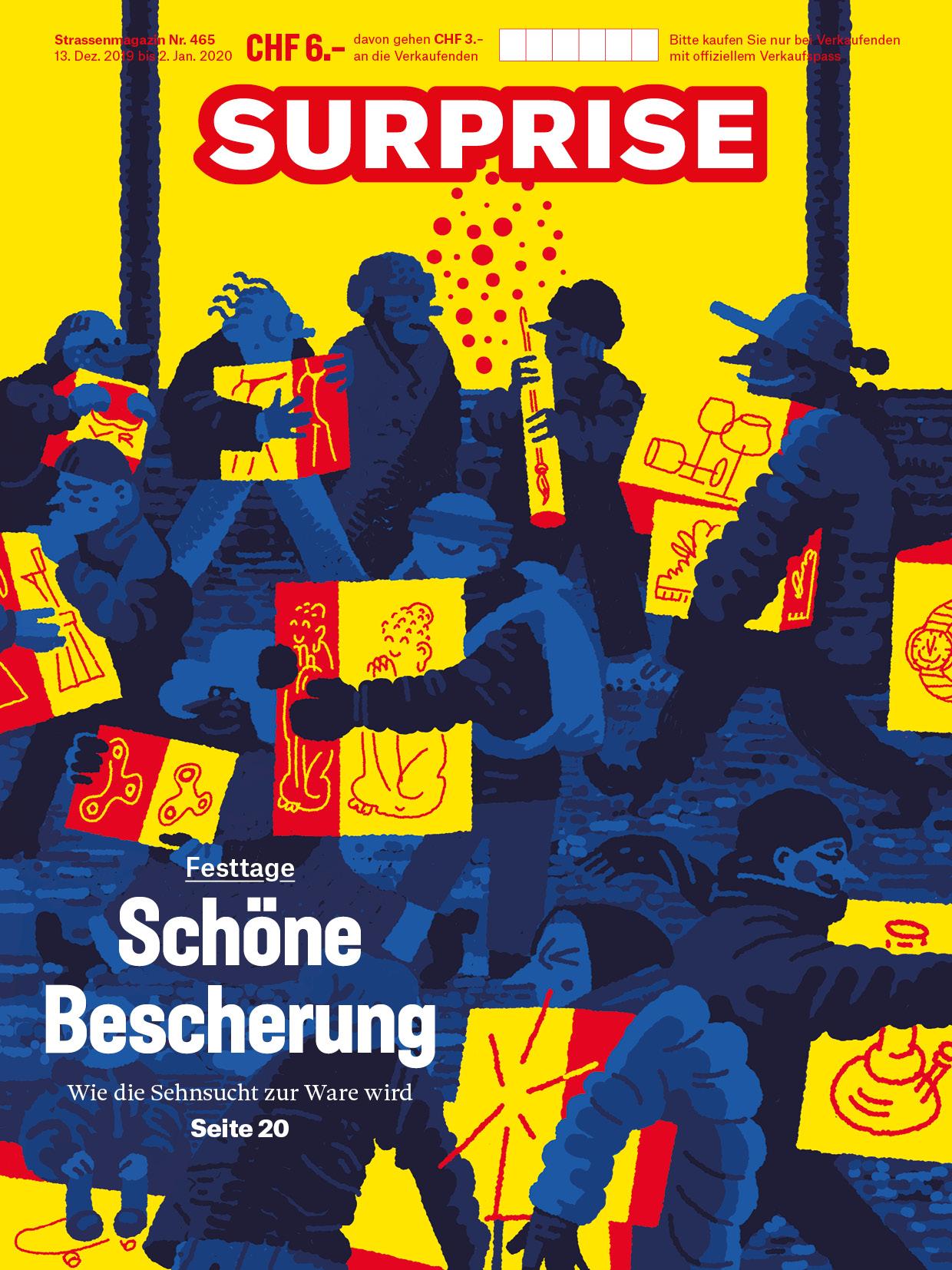 Titelseite Strassenmagazin Surprise, Schöne Bescherung, Illustration Michael Kühni