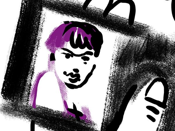 Bild aus Storyboard, Im Geldbeutel ist ein Passfoto sichtbar
