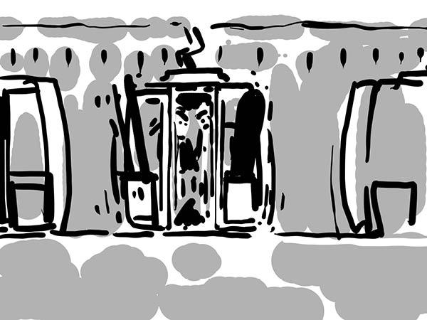 Bild aus Storyboard, Gondel öffnet sich